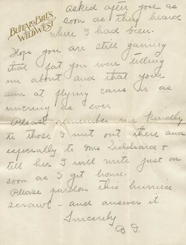 Image 7 for William F. 'Buffalo Bill' Cody - Autograph Letter Signed 08/10 - HFSID 269330
