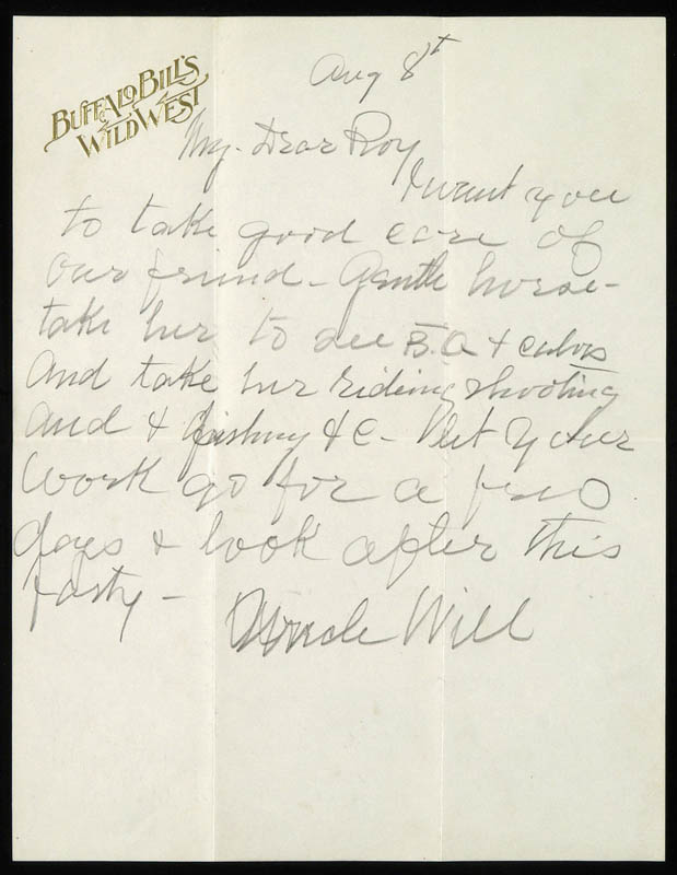 Image 1 for William F. 'Buffalo Bill' Cody - Autograph Letter Signed 08/08 - HFSID 269332