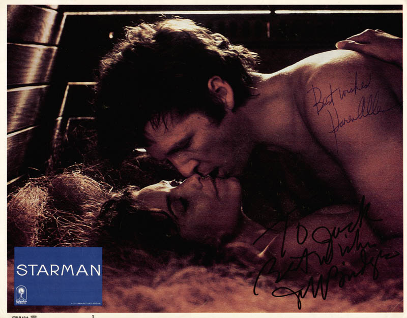 Image 1 for Starman Movie Cast - Inscribed Lobby Card Signed co-signed by: Jeff Bridges, Karen Allen - HFSID 269457