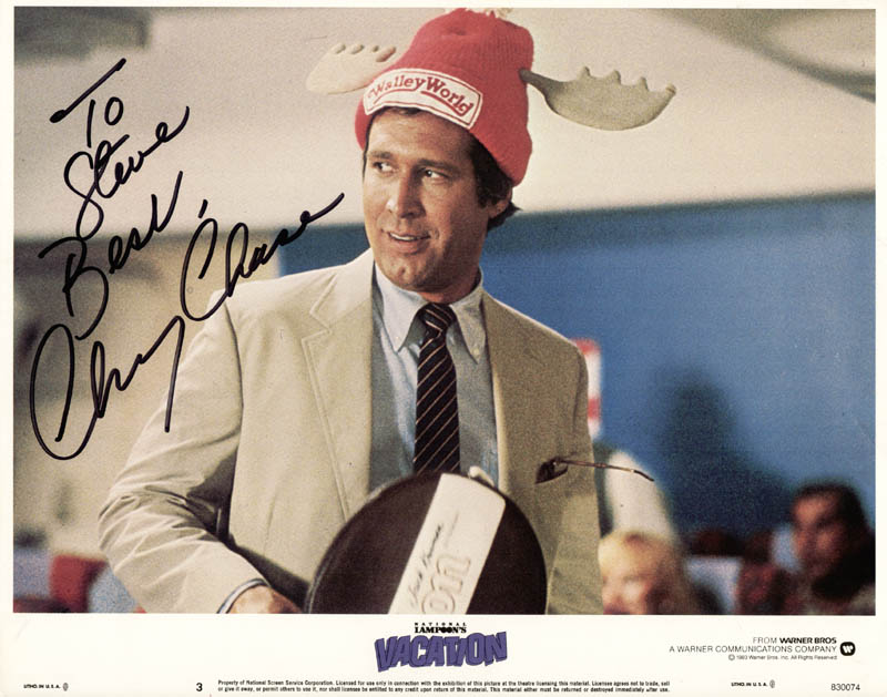 Image 1 for Chevy Chase - Inscribed Lobby Card Signed - HFSID 269465
