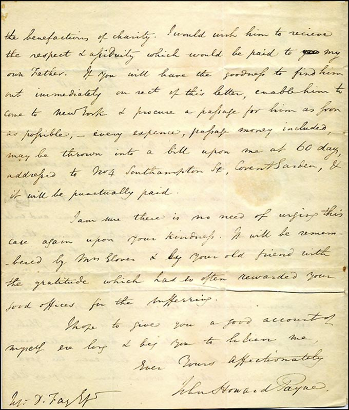 Image 1 for John Howard Payne - Autograph Letter Signed 09/29/1818 - HFSID 269533
