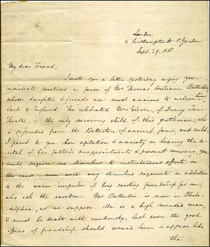 Image 3 for John Howard Payne - Autograph Letter Signed 09/29/1818 - HFSID 269533
