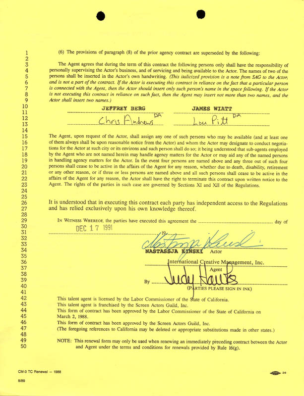 Image 1 for Nastassia Kinski - Contract Signed 12/17/1991 - HFSID 269550