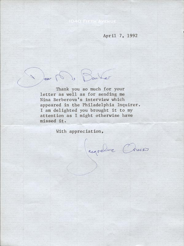 First Lady Jacqueline B Kennedy Typed Letter Signed 04 07