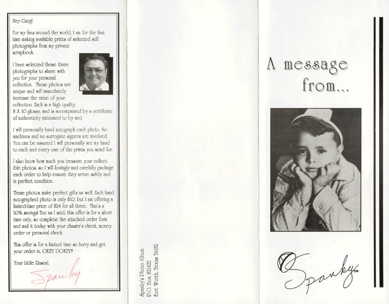 Image 1 for Spanky Mcfarland - Advertisement Signed - HFSID 269582