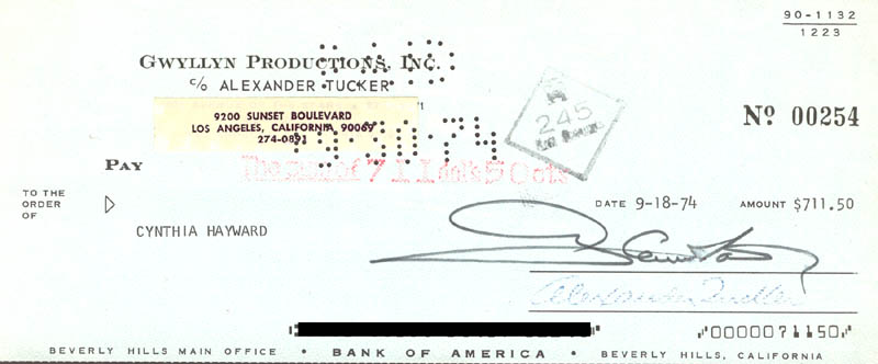 Image 1 for Glenn Ford - Autographed Signed Check 09/18/1974 - HFSID 269865