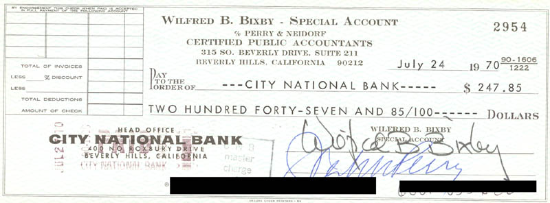 Image 1 for Bill Bixby - Autographed Signed Check 07/24/1970 co-signed by: John Perry - HFSID 269866