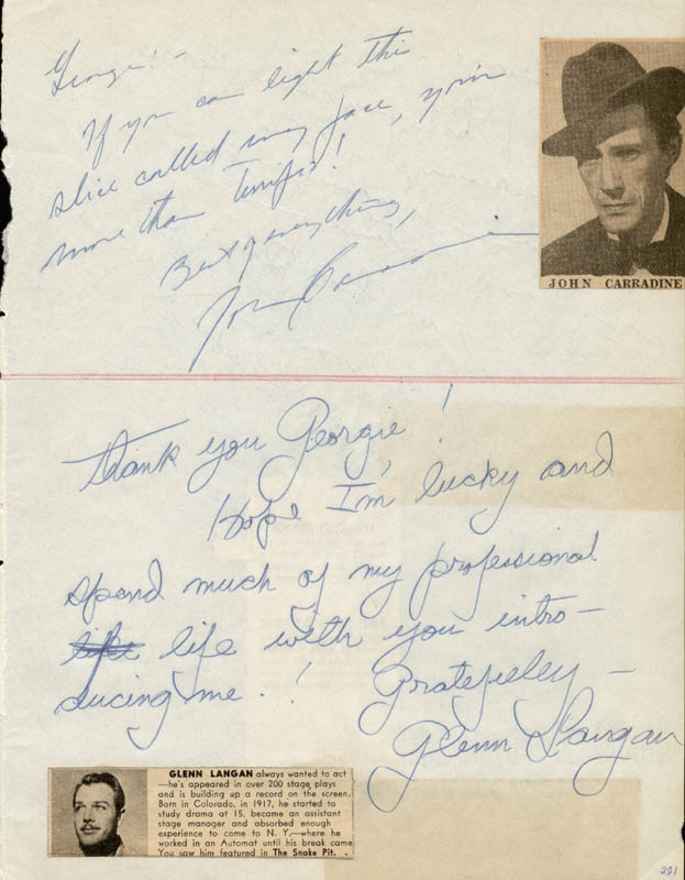 Image 1 for John Carradine - Autograph Note Signed co-signed by: Ted Fio Rito, Glenn Langan - HFSID 27004