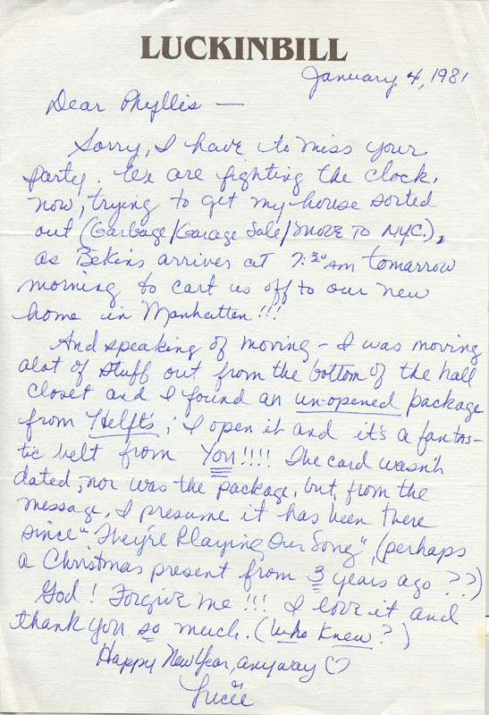 Image 1 for Lucie Arnaz - Autograph Letter Signed 01/04/1981 - HFSID 270122