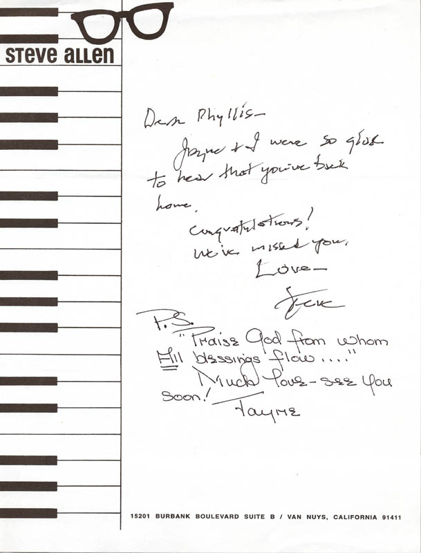 Image 1 for Steve Allen - Autograph Letter Signed co-signed by: Jayne Meadows - HFSID 270129