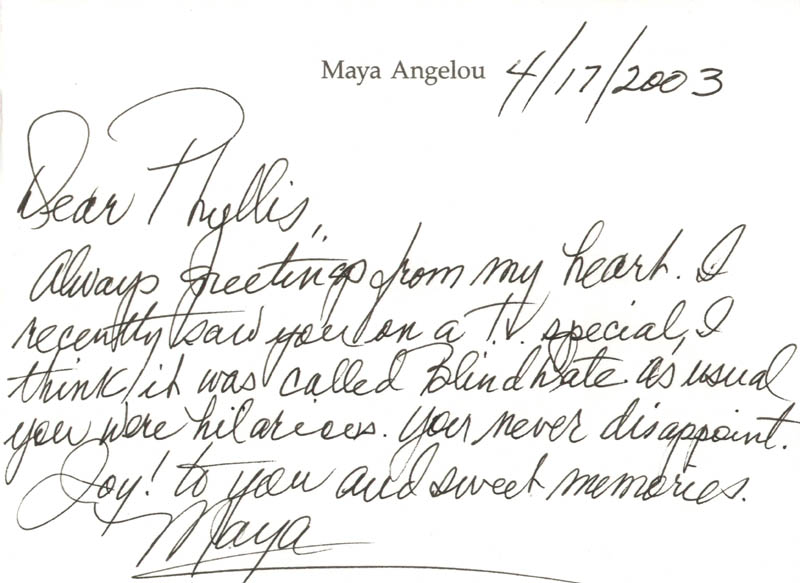 Image 1 for Maya Angelou - Autograph Letter Signed 04/17/2003 - HFSID 270138