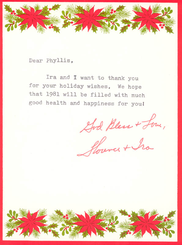 Image 1 for Florence Henderson - Typed Letter Signed Circa 12/1981 - HFSID 270212