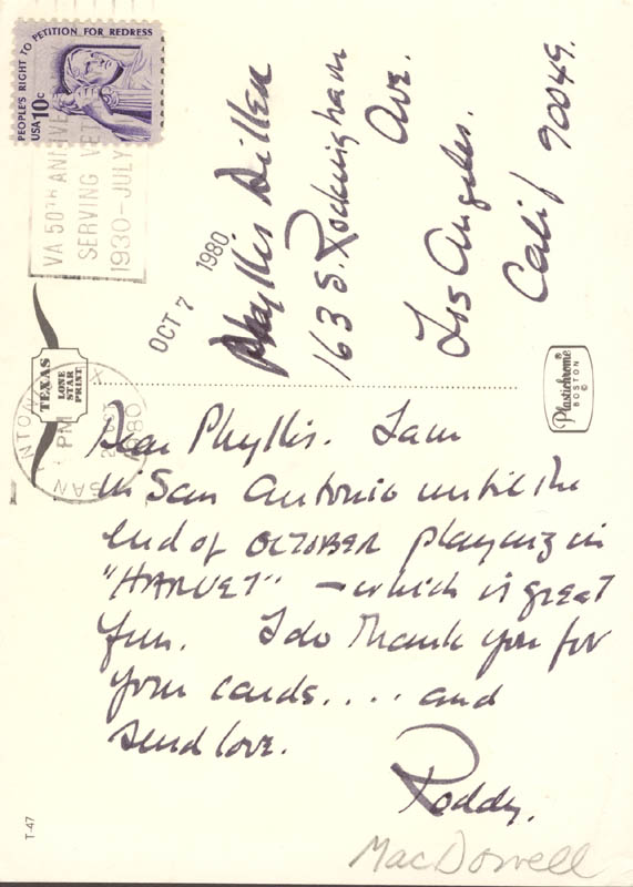 Image 1 for Roddy Mcdowall - Autograph Letter Signed Circa 1980 - HFSID 270239