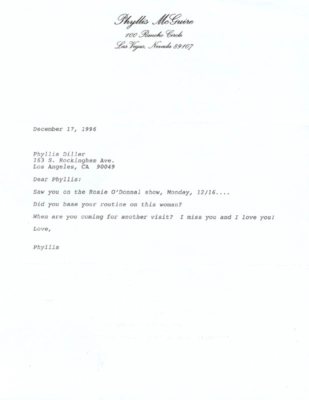 Image 1 for The Mcguire Sisters (Phyllis Mcguire) - Typed Letter Unsigned 12/17/1996 - HFSID 270250
