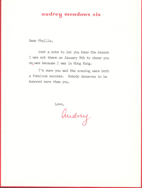 Image 1 for Audrey Meadows - Typed Letter Signed - HFSID 270262