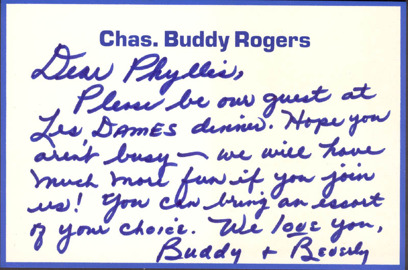 Image 1 for Charles 'Buddy' Rogers - Autograph Letter Signed - HFSID 270271