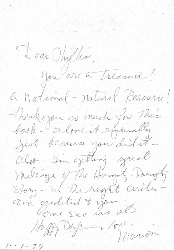 Image 1 for Marion Ross - Autograph Letter Signed 11/01/1979 - HFSID 270275