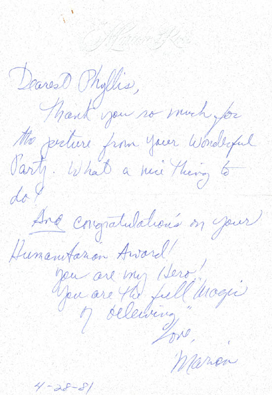 Image 1 for Marion Ross - Autograph Letter Signed 04/28/1981 - HFSID 270276