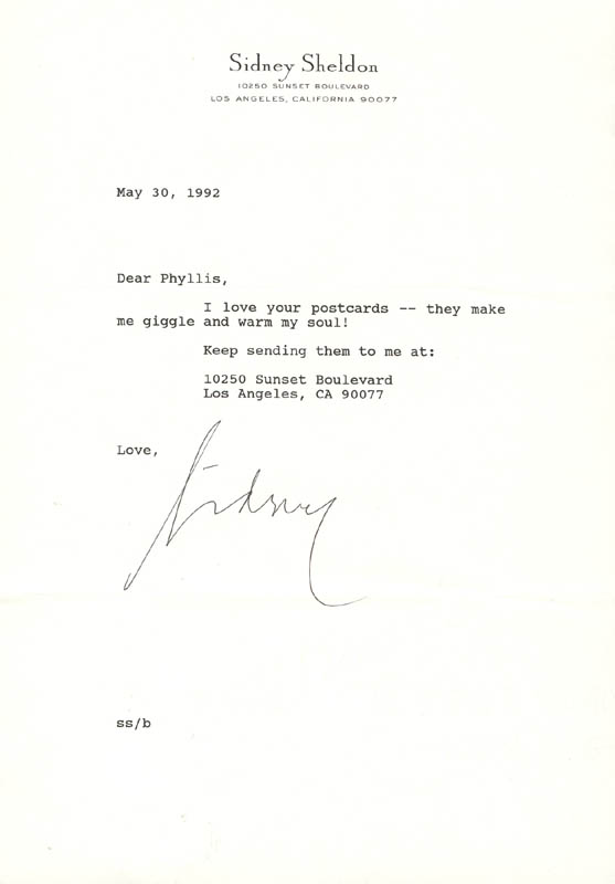 Image 1 for Sidney Sheldon - Typed Letter Signed 05/30/1992 - HFSID 270279