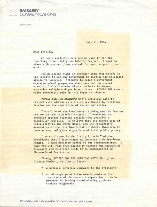 Image 3 for Norman Lear - Typed Letter Signed 07/11/1984 - HFSID 270313