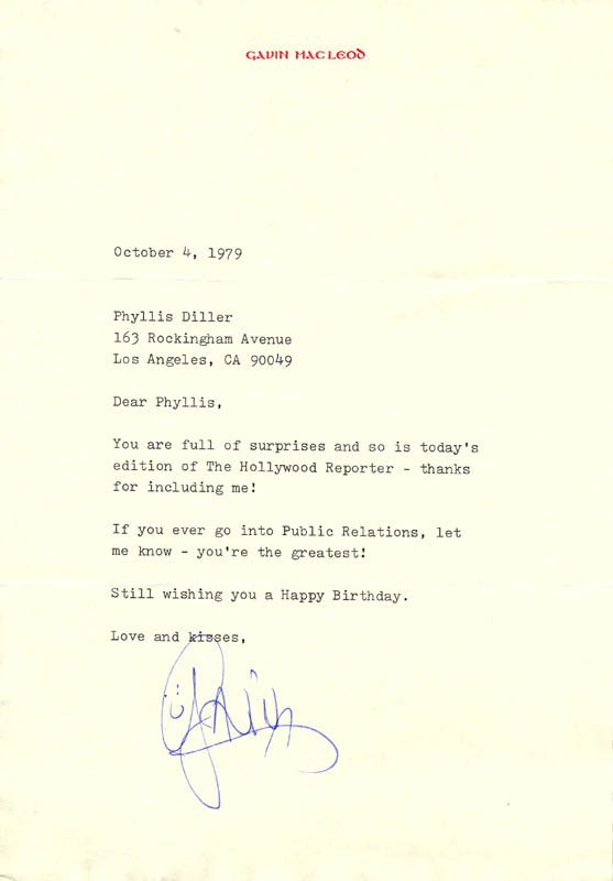 Image 1 for Gavin Macleod - Typed Letter Signed 10/04/1979 - HFSID 270317