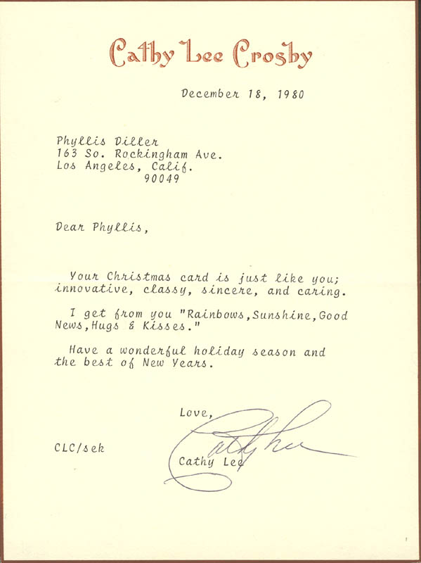 Image 1 for Cathy Lee Crosby - Typed Letter Signed 12/18/1980 - HFSID 270336