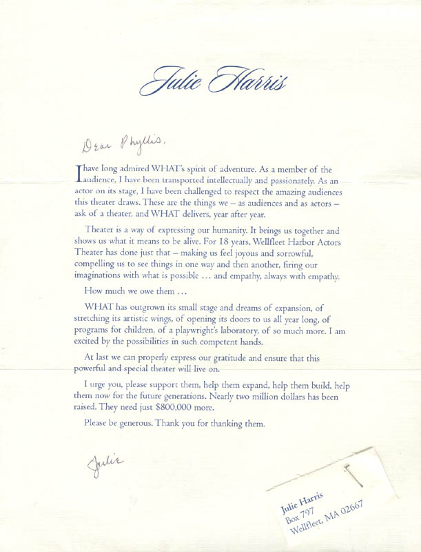 Image 1 for Julie Harris - Typed Letter Signed Circa 2003 - HFSID 270339