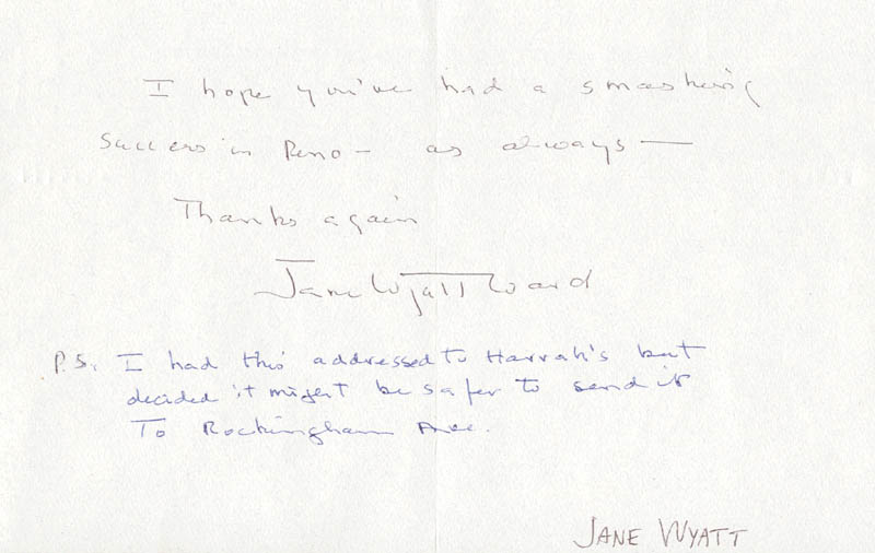Image 1 for Jane Wyatt - Autograph Letter Signed 03/03/1994 - HFSID 270513
