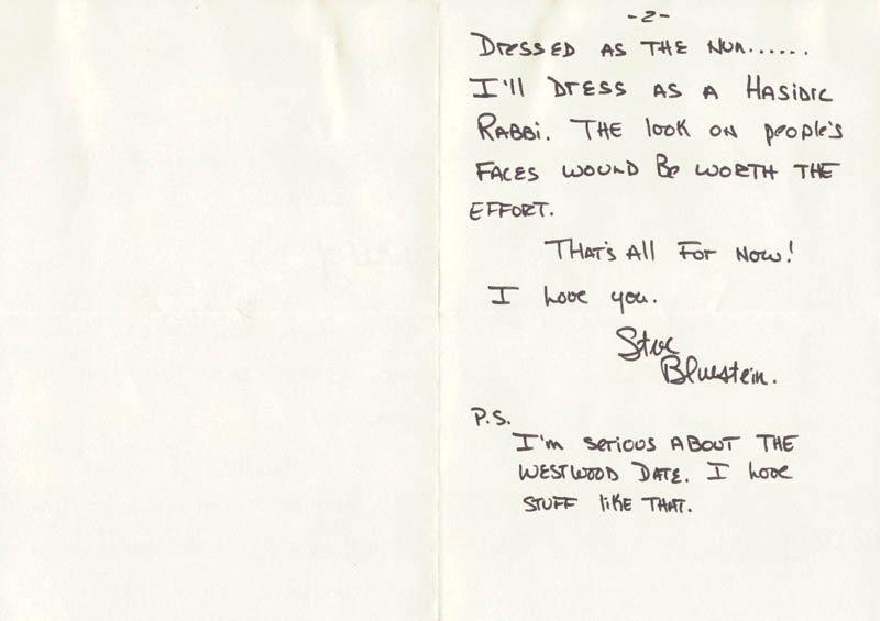 Image 1 for Steve Bluestein - Autograph Letter Signed 09/02/1980 - HFSID 270542