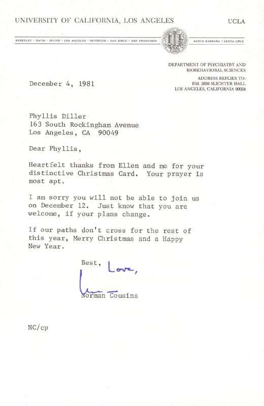 Norman Cousins - Typed Letter Signed 12/04/1981 | Autographs ...