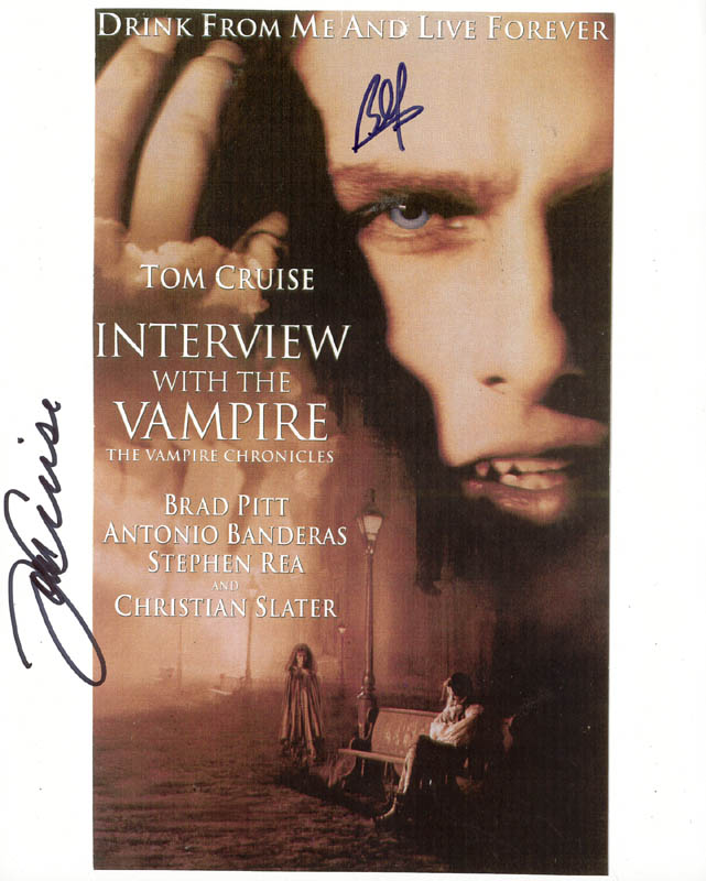 Image 1 for Interview With The Vampire Movie Cast - Autographed Signed Photograph co-signed by: Tom Cruise, Brad Pitt - HFSID 270664