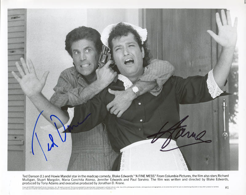 Image 1 for A Fine Mess Movie Cast - Autographed Signed Photograph co-signed by: Ted Danson, Howie Mandel - HFSID 270701