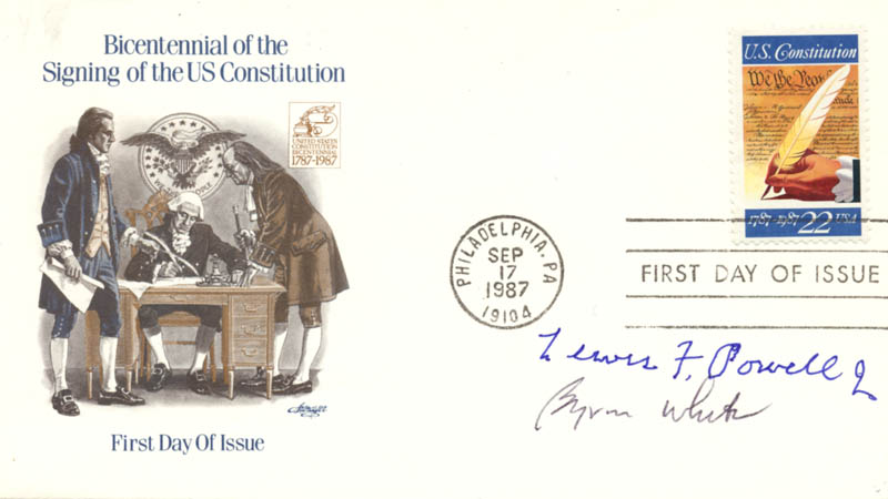 Image 1 for Associate Justice Lewis F. Powell Jr. - First Day Cover Signed co-signed by: Associate Justice Byron R. White - HFSID 270816