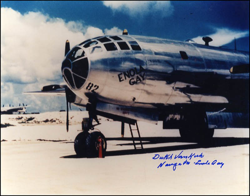 Image 1 for Enola Gay Crew (Theodore Van Kirk) - Autographed Signed Photograph - HFSID 270822