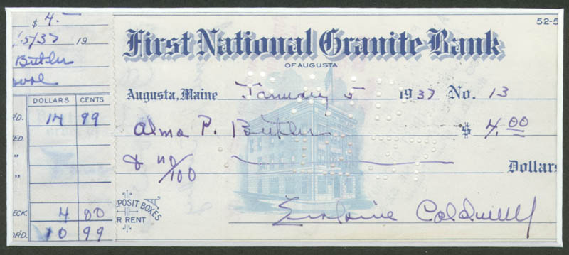 Image 3 for Erskine Caldwell - Autographed Signed Check - HFSID 270832