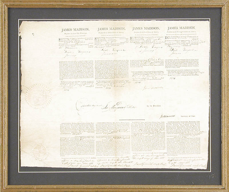 Image 1 for President James Madison - Four Language Ships Papers Signed 11/29/1811 co-signed by: President James Monroe - HFSID 270857