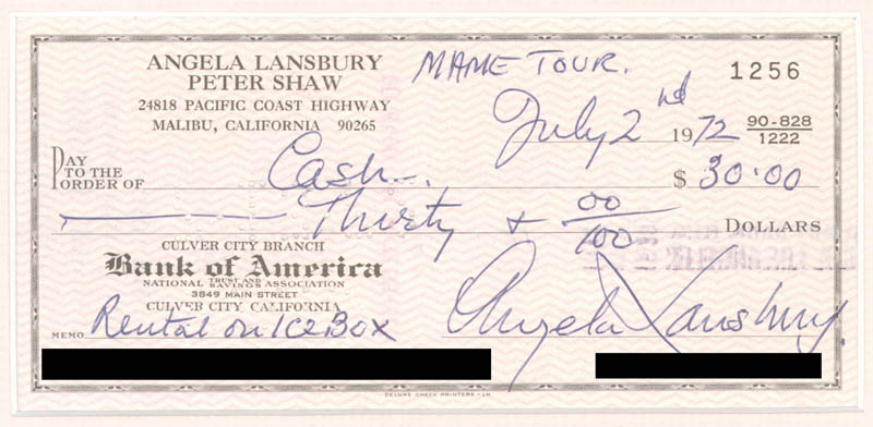 Image 3 for Angela Lansbury - Autographed Signed Check 07/02/1972 - HFSID 270869