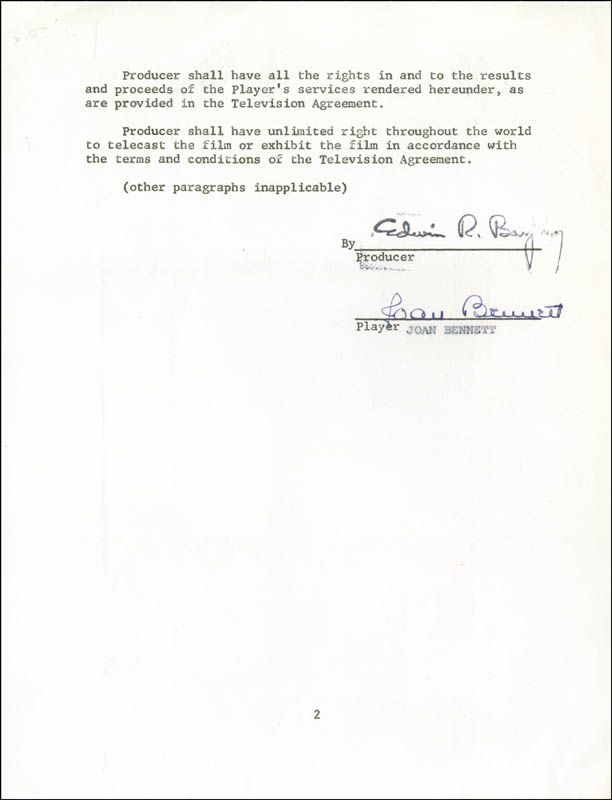 Image 3 for Joan Bennett - Contract Signed 12/27/1967 - HFSID 270875