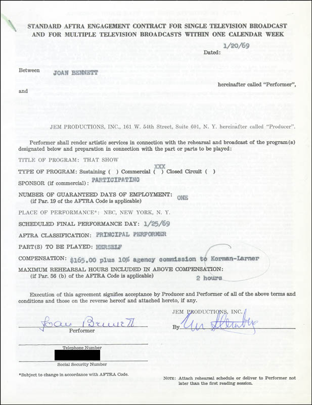 Image 1 for Joan Bennett - Contract Signed 01/20/1969 - HFSID 270876