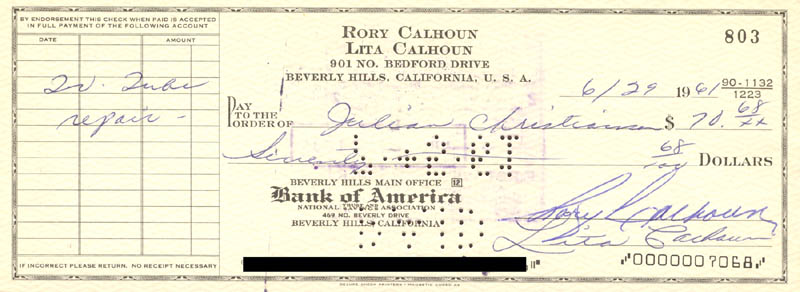 Image 1 for Rory Calhoun - Autographed Signed Check 06/29/1961 co-signed by: Lita Baron Calhoun - HFSID 270888