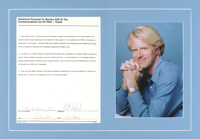 Image 1 for Ed Begley Jr. - Document Signed 11/30/1989 - HFSID 270900