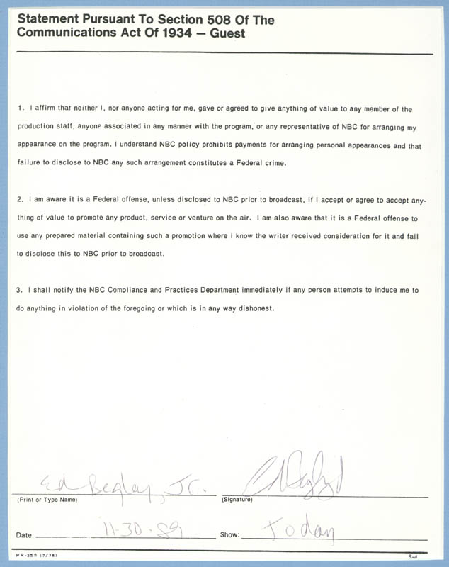 Image 3 for Ed Begley Jr. - Document Signed 11/30/1989 - HFSID 270900