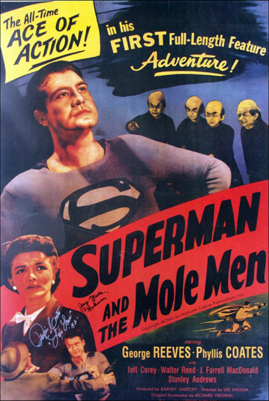 Image 1 for Superman And The Mole Men Movie Cast - Autographed Signed Poster co-signed by: Phyllis Coates, Jerry Maren - HFSID 270936