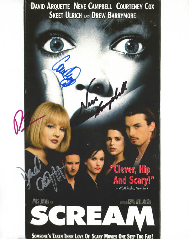 Image 1 for Scream Movie Cast - Autographed Signed Photograph co-signed by: Drew Barrymore, Courteney Cox, Neve Campbell, David Arquette - HFSID 271017