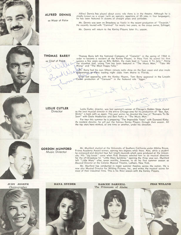 Image 1 for Kismet Theater Cast - Inscribed Program Signed co-signed by: Thomas Barry, Sharon Sutton - HFSID 27104