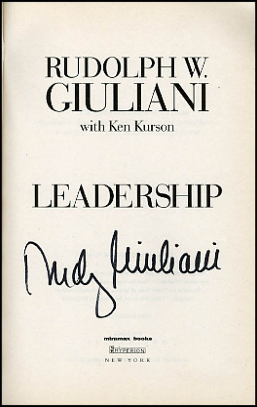 Image 1 for Mayor Rudolph 'Rudy' Giuliani - Book Signed - HFSID 271079