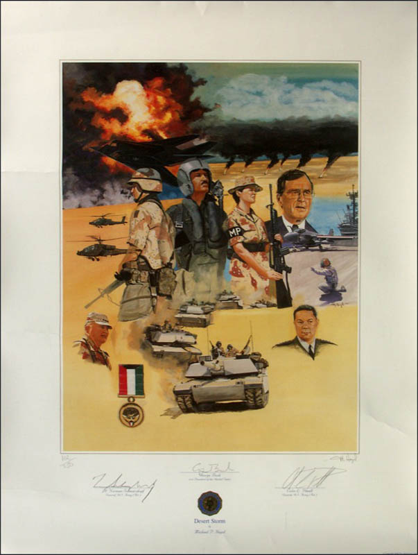 Image 1 for President George H.W. Bush - Printed Art Signed In Pencil co-signed by: General Colin L. Powell, General H. Norman Schwarzkopf - HFSID 271084