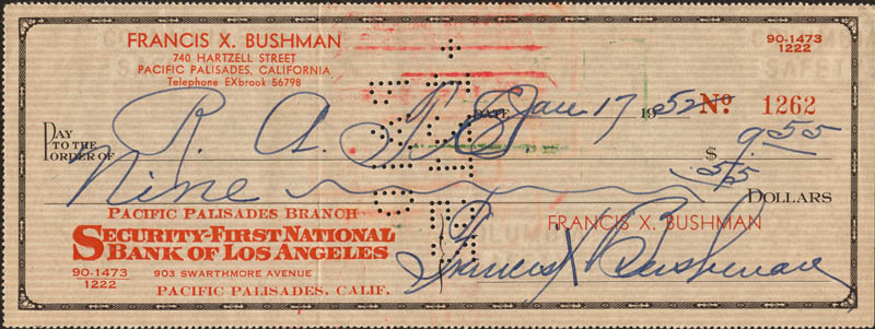 Image 1 for Francis X. Bushman - Autographed Signed Check 01/17/1952 - HFSID 271122