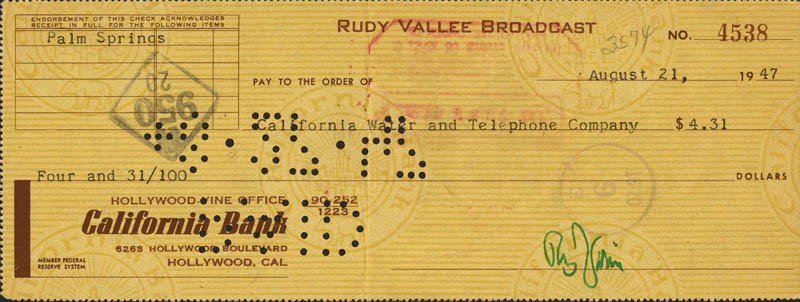 Image 1 for Rudy Vallee - Autographed Signed Check 08/21/1947 - HFSID 271123