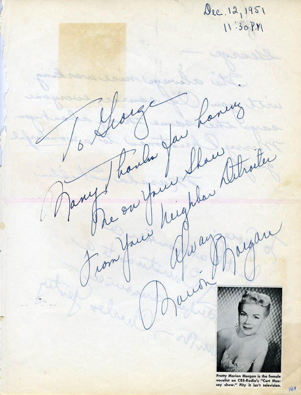 Image 1 for Marion Morgan - Autograph Note Signed 12/12/1951 - HFSID 27119